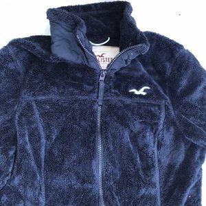 Hollister girls youth Navy Blue Zip fuzzy jacket L